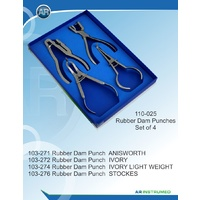 Rubber Dam Clamp Forcep and Punch Set 4 Pieces